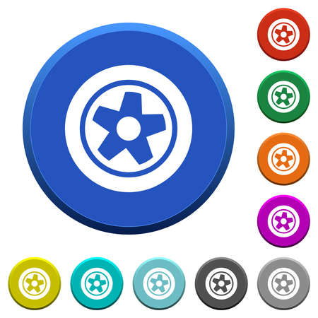 Car wheel round color beveled buttons with smooth surfaces and flat white icons