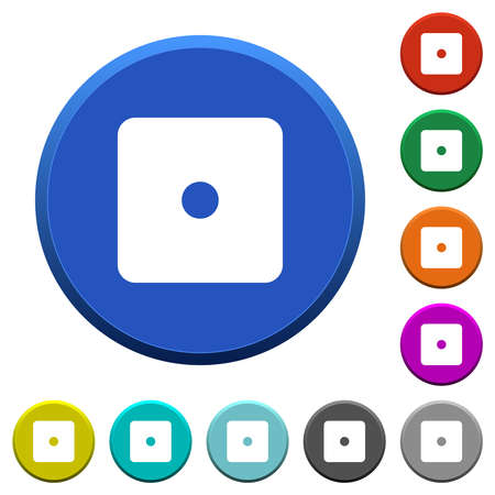 Dice one round color beveled buttons with smooth surfaces and flat white icons