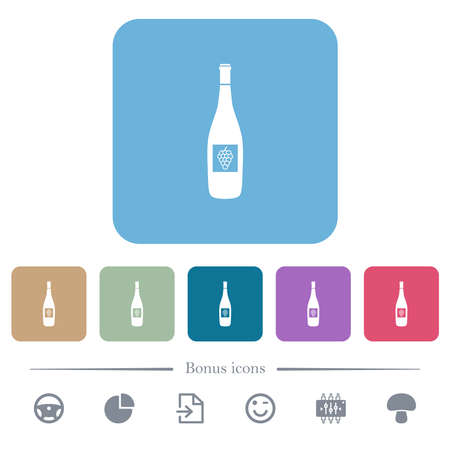 Wine bottle with grapes white flat icons on color rounded square backgrounds. 6 bonus icons included Vectores