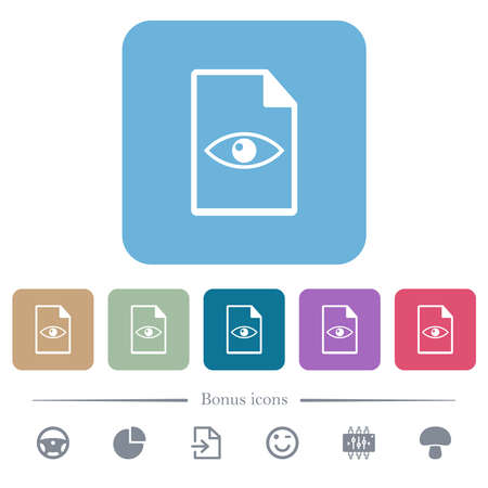File preview white flat icons on color rounded square backgrounds. 6 bonus icons included Vettoriali