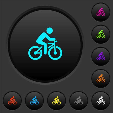 Bicycle with rider dark push buttons with vivid color icons on dark gray background