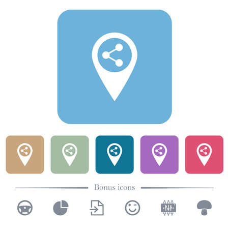 Share GPS map location white flat icons on color rounded square backgrounds. 6 bonus icons included
