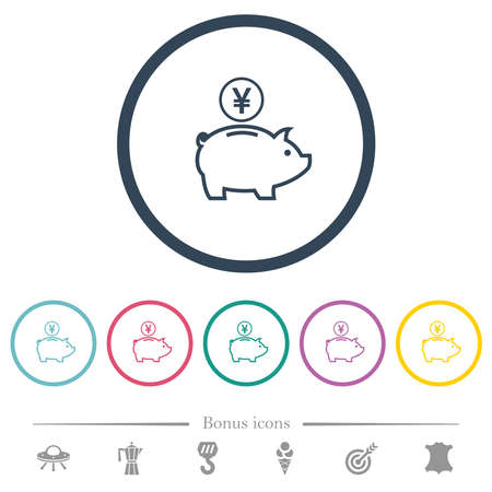 Yen piggy bank flat color icons in round outlines. 6 bonus icons included.