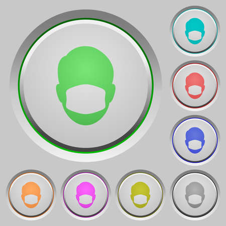 Face with medical mask color icons on sunk push buttons
