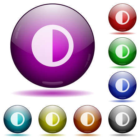 Contrast control icons in color glass sphere buttons with shadows