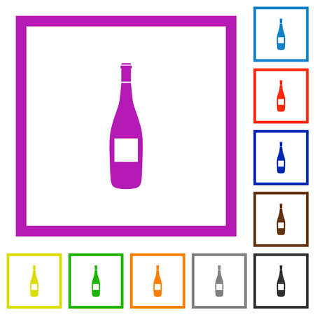 Wine bottle with grapes flat color icons in square frames on white background