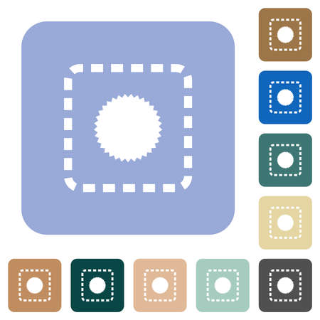 Place certificate white flat icons on color rounded square backgrounds Stock Illustratie