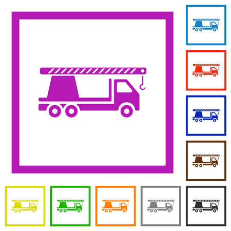 Crane truck flat color icons in square frames on white background