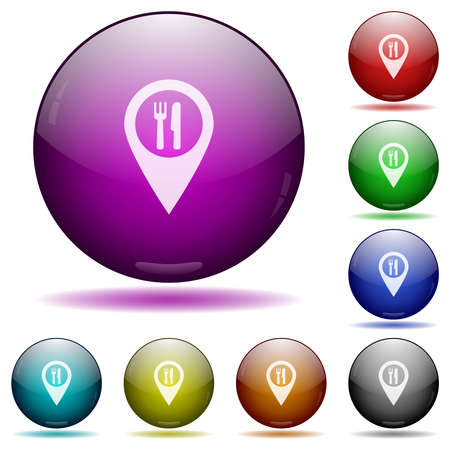 Restaurant GPS map location icons in color glass sphere buttons with shadows