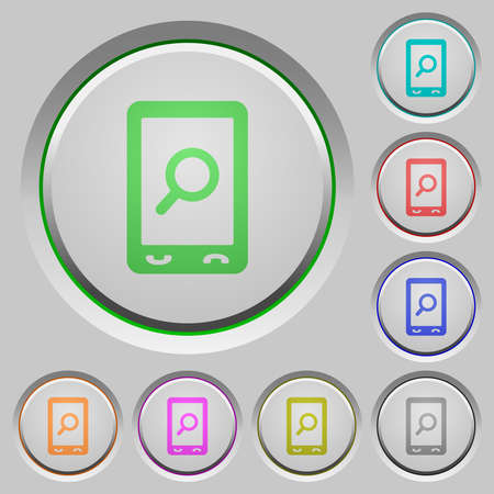 Mobile search color icons on sunk push buttons Stock Illustratie