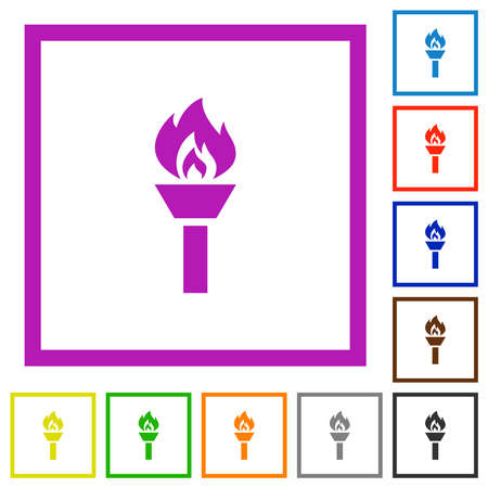 Torch flat color icons in square frames on white background Stock Illustratie