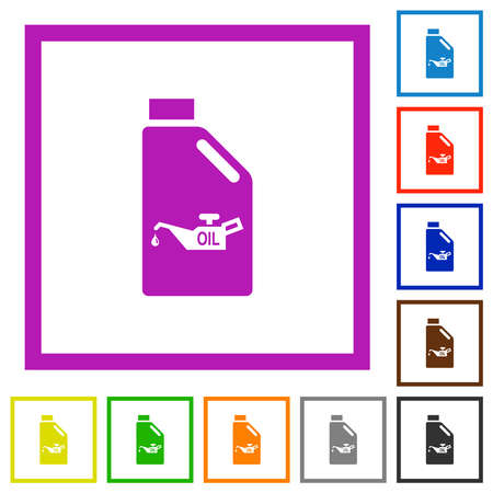 Oil canister with oiler flat color icons in square frames on white background