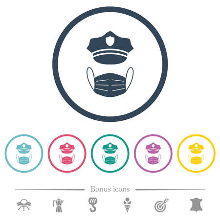 Police hat and medical face mask flat color icons in round outlines. 6 bonus icons included. Stock Illustratie