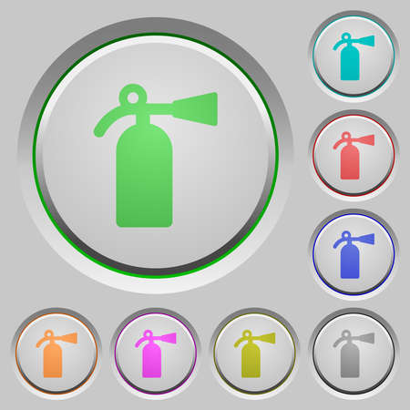 Fire extinguisher color icons on heavy push buttons