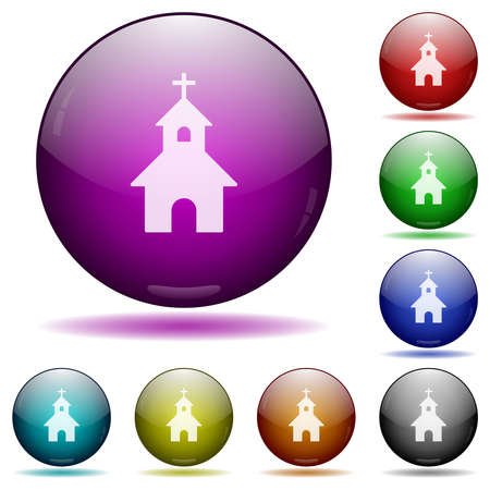Church icons in color glass sphere buttons with shadows