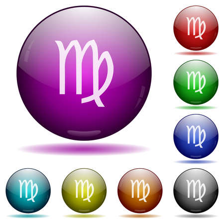 virgo zodiac symbol icons in color glass sphere buttons with shadows Illustration
