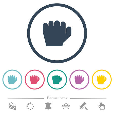 Left handed grab gesture flat color icons in round outlines. 6 bonus icons included.