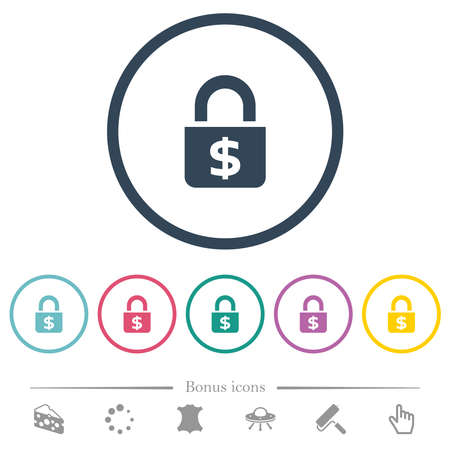 Locked Dollars flat color icons in round outlines. 6 bonus icons included.