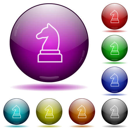 White chess knight icons in color glass sphere buttons with shadows