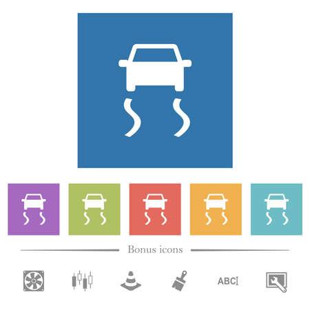 Slippery road dashboard indicator flat white icons in square backgrounds. 6 bonus icons included. Ilustração