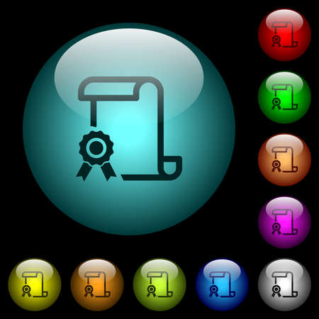 Scroll with certificate on left icons in color illuminated spherical glass buttons on black background. Can be used to black or dark templates Illustration