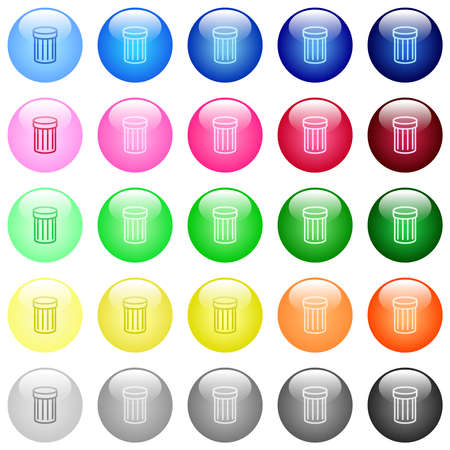 Trash icons in set of 25 color glossy spherical buttons