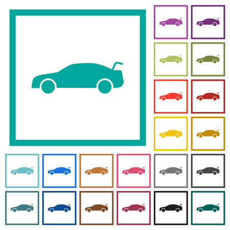 Car trunk open dashboard indicatorflat color icons with quadrant frames on white background Vettoriali