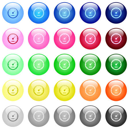 Speedometer icons in set of 25 color glossy spherical buttons