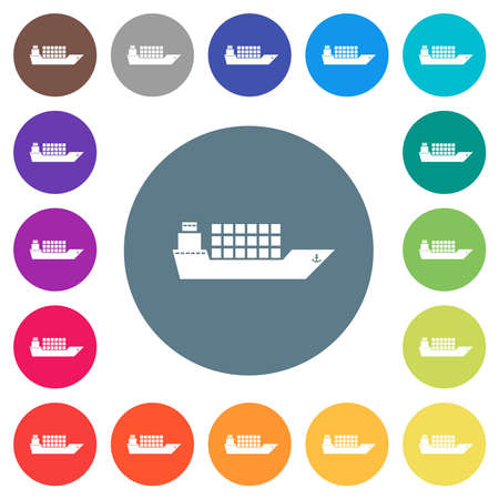 Freighter flat white icons on round color backgrounds. 17 background color variations are included.
