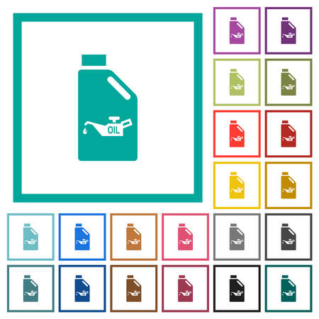 Oil canister with oiler flat color icons with quadrant frames on white background