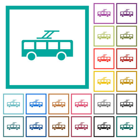 Trolley bus flat color icons with quadrant frames on white background