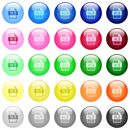 XLS file format icons in set of 25 color glossy spherical buttons Ilustração