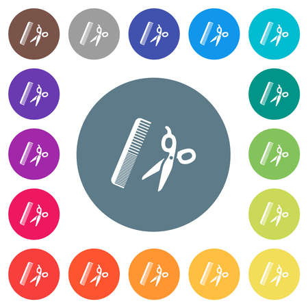Comb and scissors flat white icons on round color backgrounds. 17 background color variations are included. Illustration
