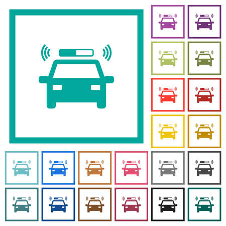 Flashing police car flat color icons with quadrant frames on white background