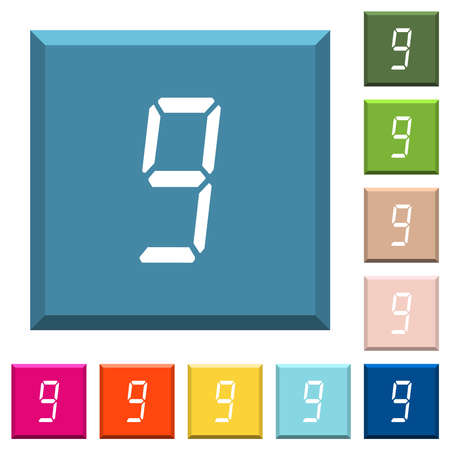 digital number nine of seven segment type white icons on edged square buttons in various trendy colors