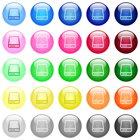 Hard disk drive icons in set of 25 color glossy spherical buttons Vector Illustratie