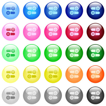Toggle switches icons in set of 25 color glossy spherical buttons