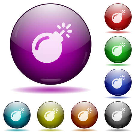 Bomb with sparkling fuse icons in color glass sphere buttons with shadows Illustration