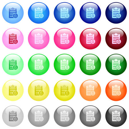 Note unlock icons in set of 25 color glossy spherical buttons