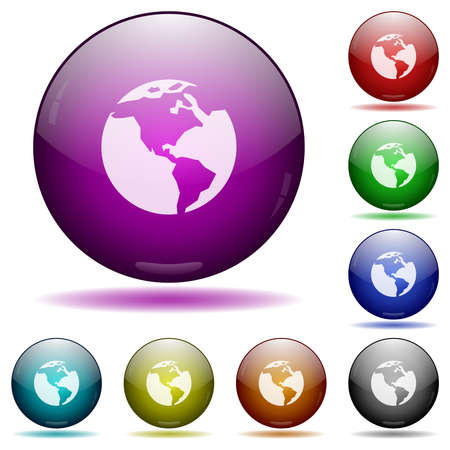 Earth icons in color glass sphere buttons with shadows