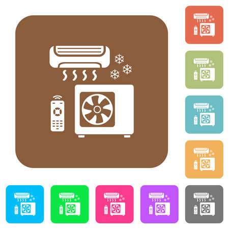 Air conditioning system flat icons on rounded square vivid color backgrounds.