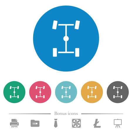 Central differential flat white icons on round color backgrounds. 6 bonus icons included.