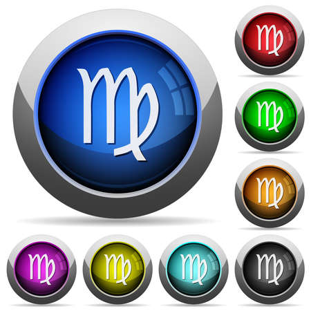 virgo zodiac symbol icons in round glossy buttons with steel frames in several colors