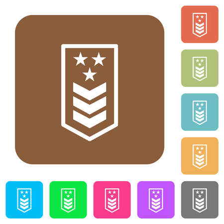 Military insignia with three chevrons and three stars flat icons on rounded square vivid color backgrounds.