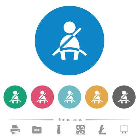 Car seat belt warning indicator flat white icons on round color backgrounds. 6 bonus icons included. Illustration