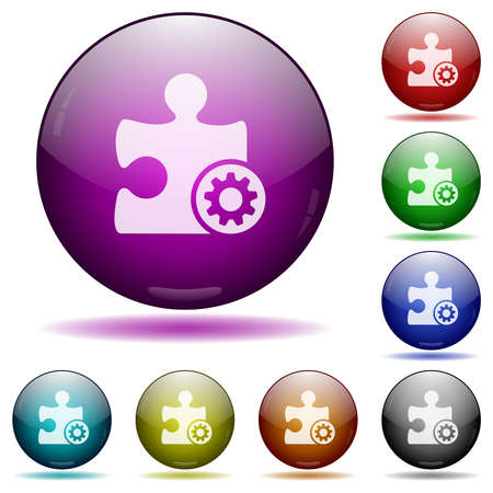 Plugin settings icons in color glass sphere buttons with shadows Illustration