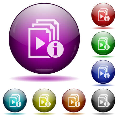 Playlist information icons in color glass sphere buttons with shadows