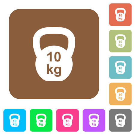 Kettlebel 10 Kg flat icons on rounded square vivid color backgrounds.
