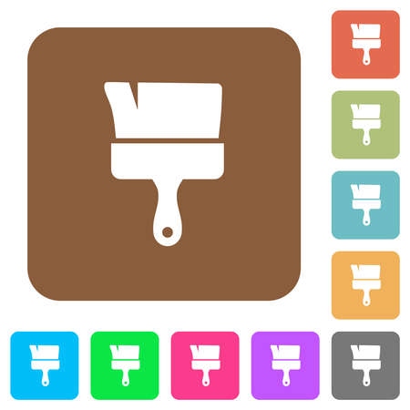 Paint brush flat icons on rounded square vivid color backgrounds. Illustration
