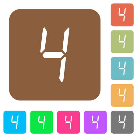 digital number four of seven segment type flat icons on rounded square vivid color backgrounds.